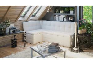 Скамья угловая со спальным местом «Домино» Кожзам белый