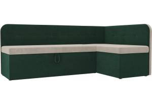 Кухонный угловой диван Форест бежевый/зеленый (Велюр)