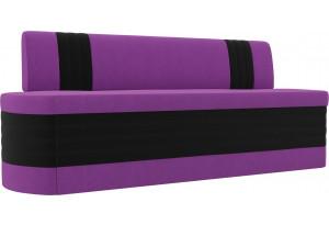 Кухонный прямой диван Токио Фиолетовый/Черный (Микровельвет)