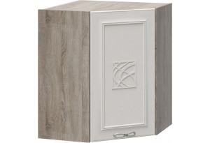 Шкаф навесной угловой с углом 45° с декором САБРИНА (Кашемир)