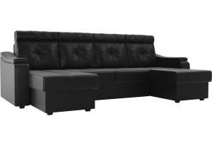 П-образный диван Джастин Черный (Экокожа)