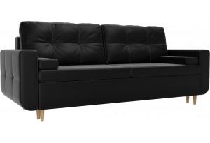 Прямой диван Кэдмон Черный (Экокожа)