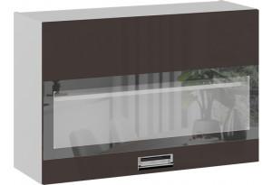 Шкаф навесной со стеклом (БЬЮТИ (Грэй))