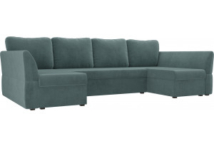П-образный диван Гесен бирюзовый (Велюр)