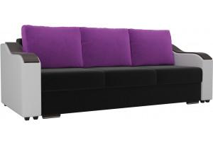 Прямой диван Монако Черный/Белый (Микровельвет/Экокожа)