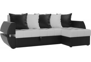 Угловой диван Атлантида У/Т Белый/Черный (Экокожа)