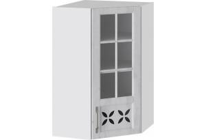 Шкаф навесной угловой c углом 45 со стеклом и декором (ПРОВАНС (Белый глянец/Санторини светлый))