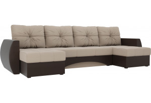 П-образный диван Сатурн бежевый/коричневый (Рогожка/Экокожа)