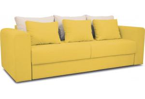 Диван «Вилсон» Maserati 11 (велюр) желтый, подушка Miami 01 (рогожка), песочный