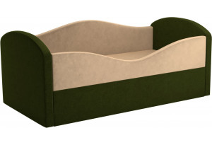Детская кровать Сказка бежевый/зеленый (Микровельвет)