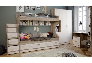 Набор детской мебели «Брауни» №2 Фон бежевый с рисунком/Дуб Сонома трюфель