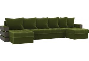 П-образный диван Венеция Зеленый (Микровельвет)