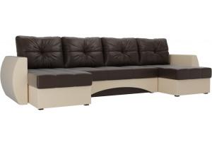 П-образный диван Сатурн Коричневый/Бежевый (Экокожа)