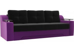 Диван прямой Сенатор черный/фиолетовый (Микровельвет)