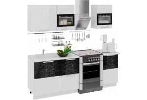 Кухонный гарнитур длиной - 210 см Фэнтези (Белый универс)/(Лайнс)