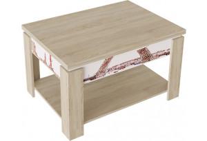 Журнальный столик тип 6 (трансформер) (Дуб сонома/Белый (с РИСУНКОМ))