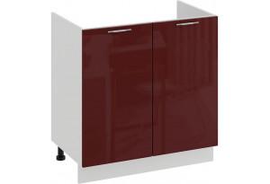 Шкаф напольный с двумя дверями (под накладную мойку) «Весна» (Белый/Бордо глянец)