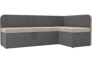 Кухонный угловой диван Форест бежевый/Серый (Велюр)