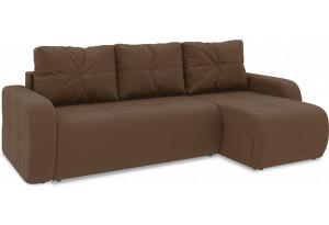 Диван угловой правый «Томас Т1» Beauty 04 (велюр) коричневый