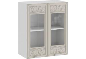 Шкаф навесной c двумя дверями со стеклом «Долорес» (Белый/Крем)