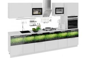 Кухонный гарнитур длиной - 300 см (с пеналом ПБ) Фэнтези (Белый универс)/(Грасс)
