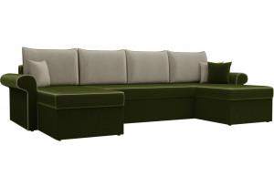 П-образный диван Милфорд Зеленый/Бежевый (Микровельвет)