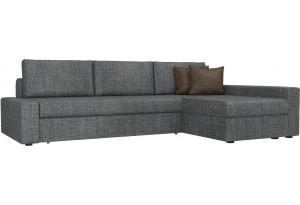 Угловой диван Версаль Серый/коричневый (Рогожка)