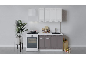Кухонный гарнитур «Долорес» длиной 120 см (Белый/Сноу/Муссон)