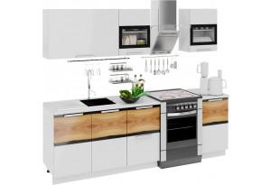 Кухонный гарнитур длиной - 240 см Фэнтези (Белый универс)/(Вуд)