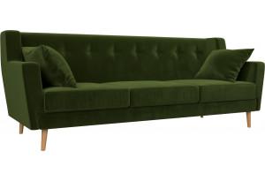 Прямой диван Брайтон 3 Зеленый (Микровельвет)