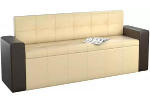Кухонный прямой диван Династия бежевый/коричневый (Экокожа)