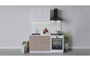 Кухонный гарнитур «Весна» длиной 100 см (Белый/Белый глянец/Кофе с молоком)