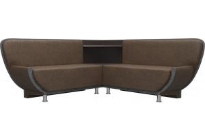 Кухонный угловой диван Лотос коричневый/Серый (Рогожка)
