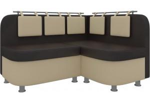Кухонный угловой диван Уют 2 Коричневый/Бежевый (Экокожа)