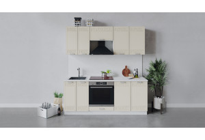 Кухонный гарнитур «Долорес» длиной 200 см со шкафом НБ (Белый/Крем)