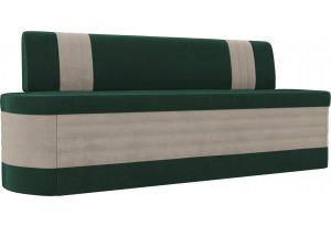 Кухонный прямой диван Токио Зеленый/Бежевый (Велюр)