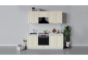 Кухонный гарнитур «Лина» длиной 200 см со шкафом НБ (Белый/Крем)