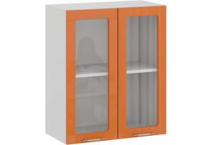 Шкаф навесной c двумя дверями со стеклом «Весна» (Белый/Оранж глянец)