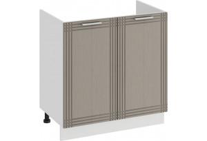 Шкаф напольный с двумя дверями (под накладную мойку) «Ольга» (Белый/Кремовый)