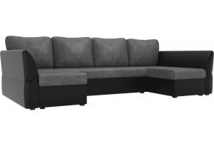 П-образный диван Гесен Серый/черный (Рогожка/Экокожа)