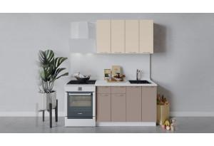 Кухонный гарнитур «Весна» длиной 120 см (Белый/Ваниль глянец/Кофе с молоком)