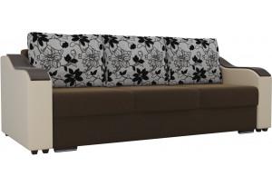 Прямой диван Монако Коричневый/Бежевый (Микровельвет/Экокожа/флок на рогожке)