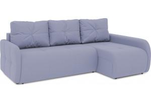 Диван угловой правый «Томас Slim Т2» (Poseidon Blue Graphite (иск.замша) серо-фиолетовый)