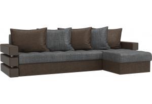 Угловой диван Венеция Серый/коричневый (Рогожка)