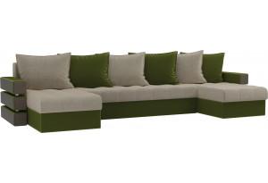 П-образный диван Венеция бежевый/зеленый (Микровельвет)