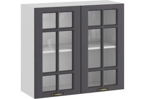 Шкаф навесной c двумя дверями со стеклом «Лина» (Белый/Графит)