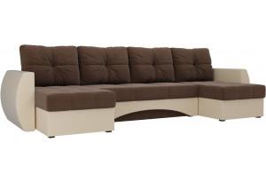 П-образный диван Сатурн Коричневый/Бежевый (Рогожка/Экокожа)