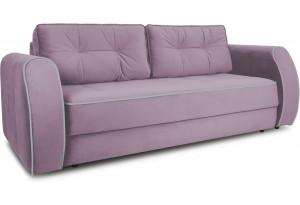 Диван «Хьюго» (Fenix Lilac (микровелюр) Лиловый кант Fenix Silver (микровелюр) Светло - серый)