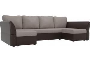 П-образный диван Гесен бежевый/коричневый (Рогожка/Экокожа)