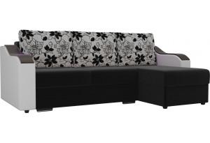 Угловой диван Монако Черный/Белый/Цветы (Микровельвет/экокожа/рогожка)